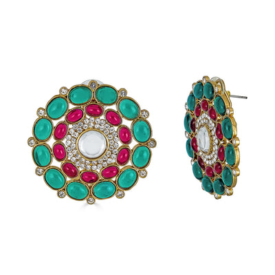 Riya Stud Earrings in Emerald and Ruby