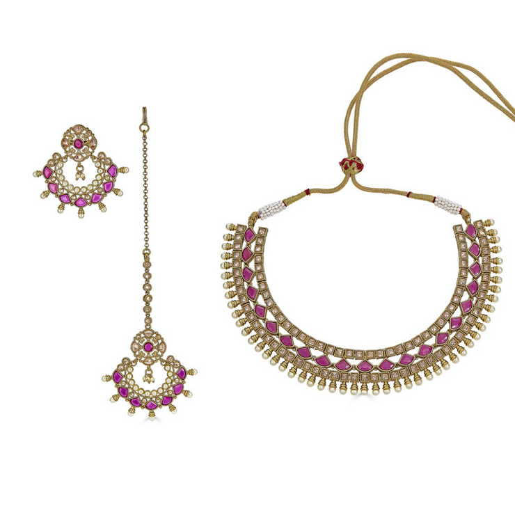 Kashvi Choker Necklace Set in Ruby