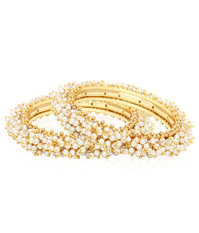 Lila Pearl Bangle Set in Gold
