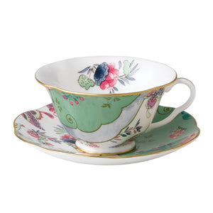 Butterfly Bloom Teaware Green Teacup & Saucer