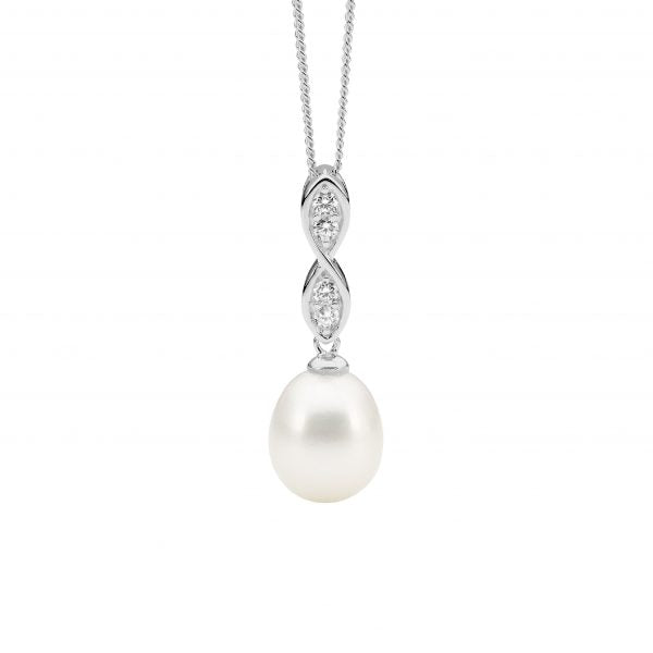 Sterling Silver Freshwater Pearl and Zirconia Pendant