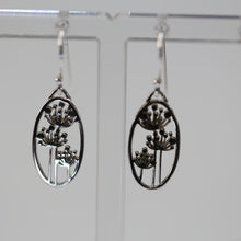 Load image into Gallery viewer, Oval Drop Earrings with Flower Print