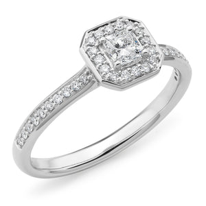 White Gold Radiant-Cut Diamond Ring