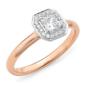 Rose Gold Radiant-Cut Diamond Ring