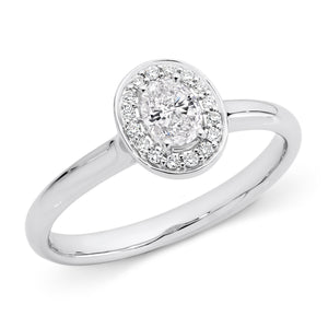 White Gold Oval-Cut Diamond Ring