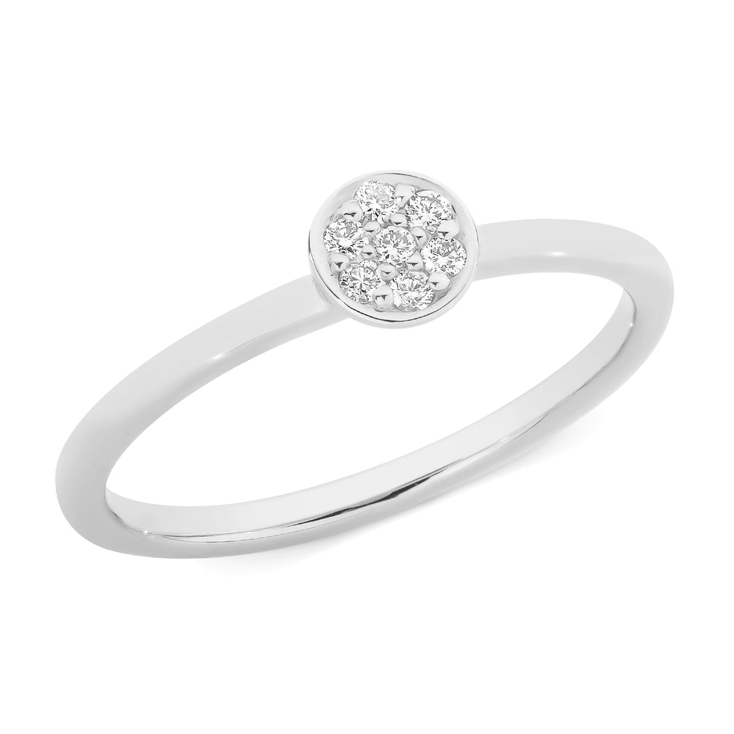 White Gold and Diamond Dot Ring