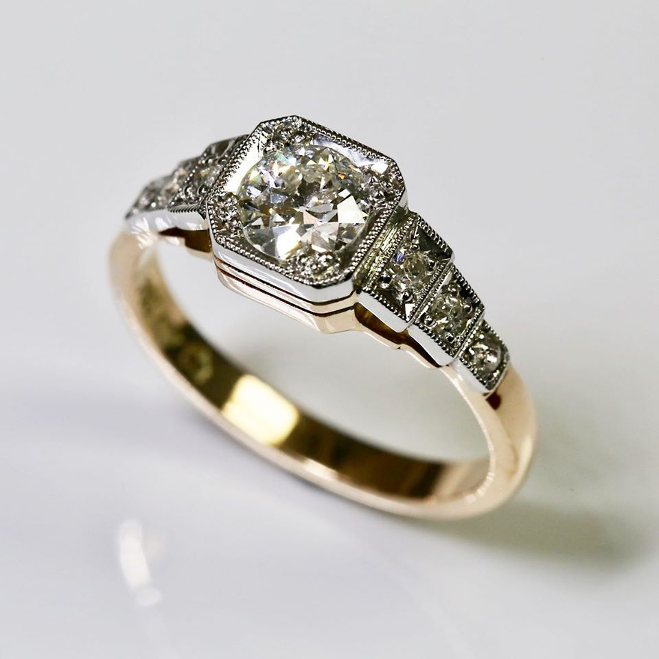 Vintage Style Box Setting Ring set with Old-Cut Diamond