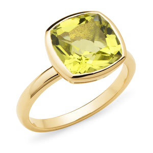 Yellow Gold and Lemon Quartz Ring