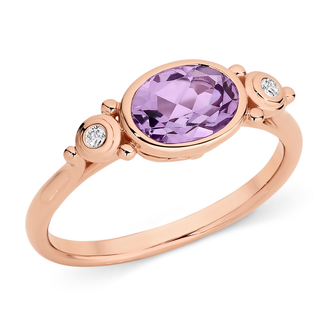 Rose Gold and Pink Amethyst Ring