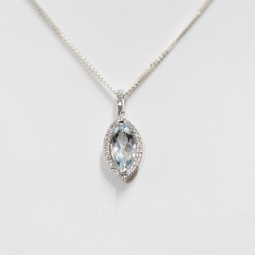 White Gold and Aquamarine Pendant