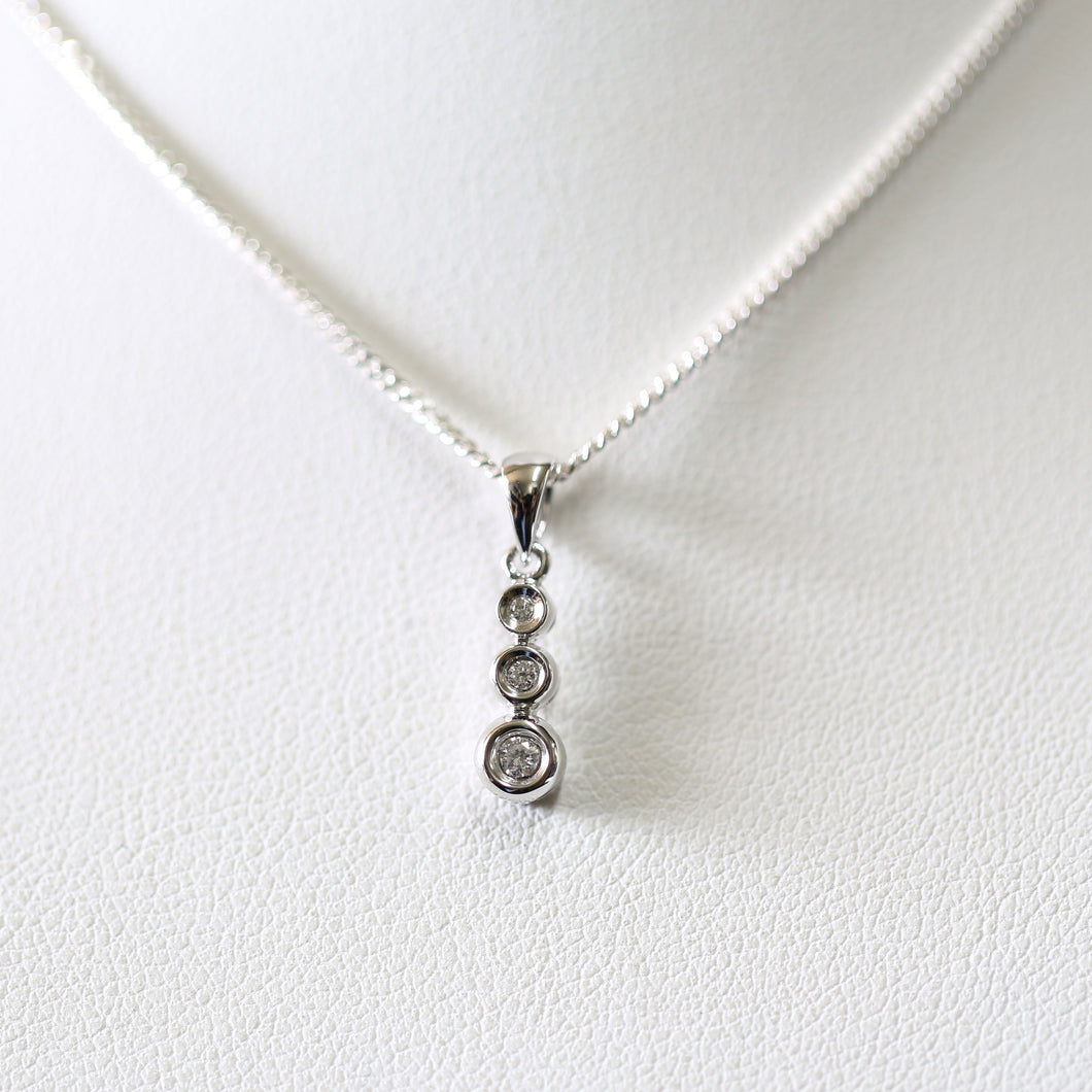 White Gold Triple Bezel Diamond Pendant