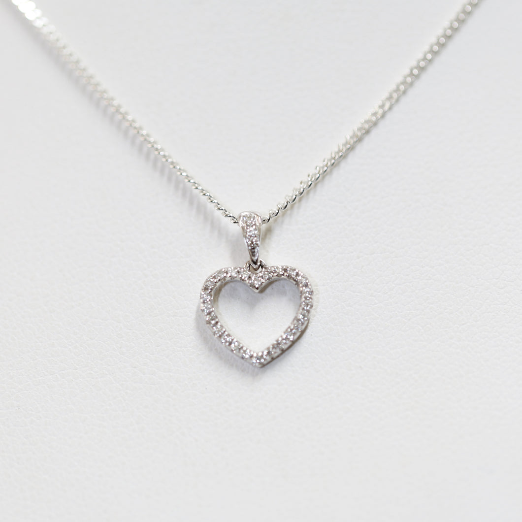White Gold Diamond set Heart
