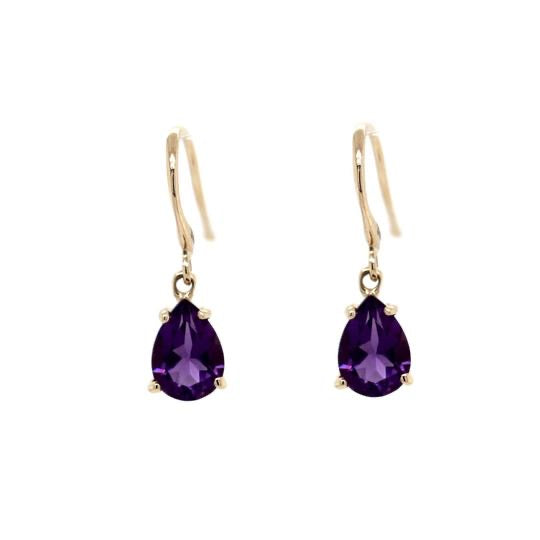 Yellow Gold and Amethyst Drops