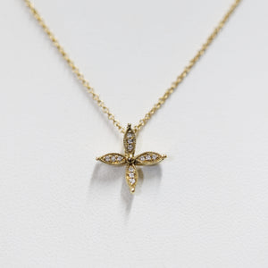 Yellow Gold and Diamond Flower Pendant