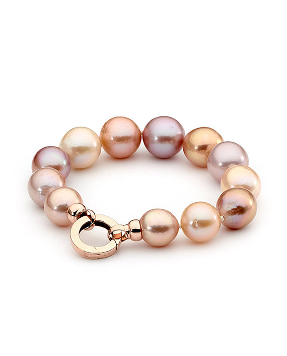 Natural Pink Edison Pearl Bracelet with Rose Gold Clasp