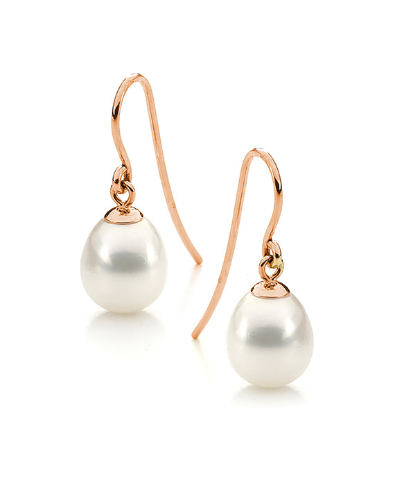 9ct Rose Gold and Freshwater Pearl Drop Earrings