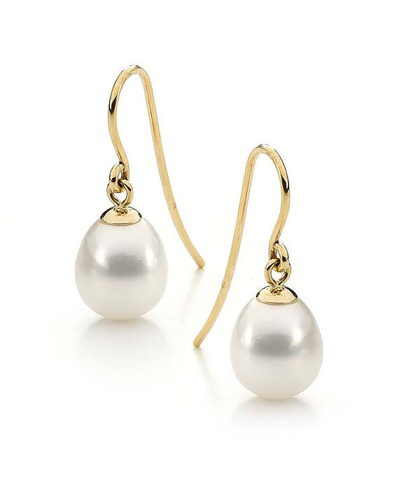 9ct Yellow Gold and White Freshwater Pearl Earrings