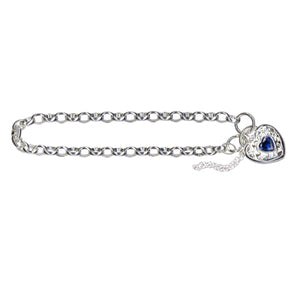 Padlock Style Bracelet with Dark Blue Stone