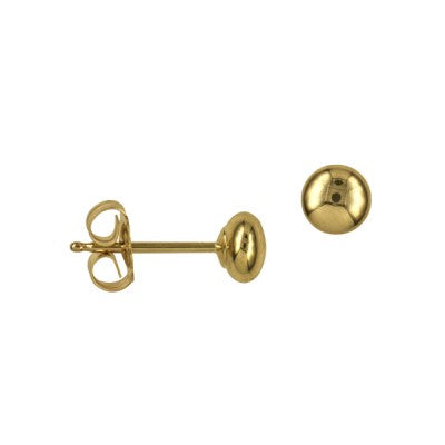 4mm Yellow Gold Button Studs