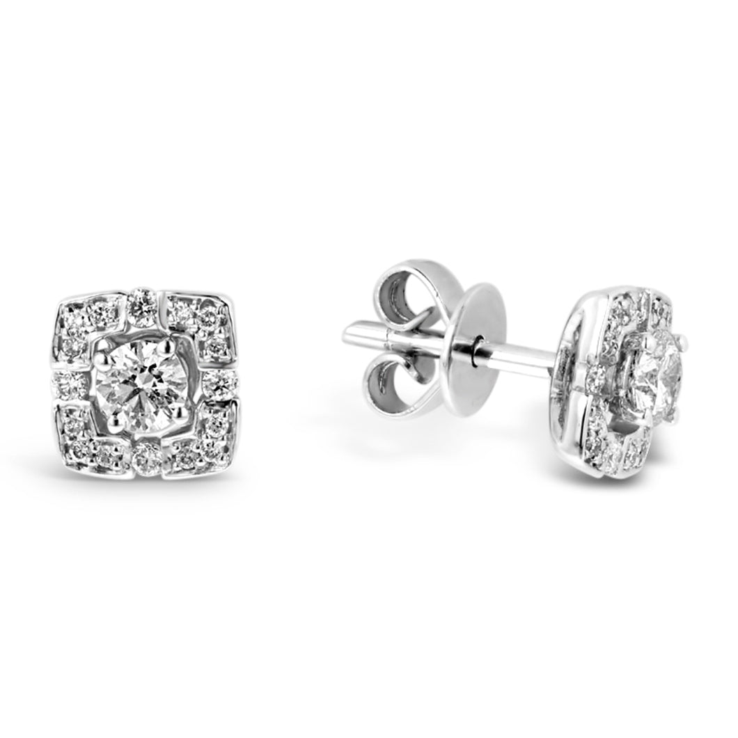 Diamond Studs with Removable Cushion Shaped Halo's