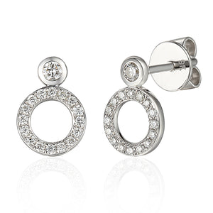 White Gold and Diamond Open Circle Studs