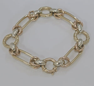 9ct Multi-tone Gold Fancy Link Bracelet