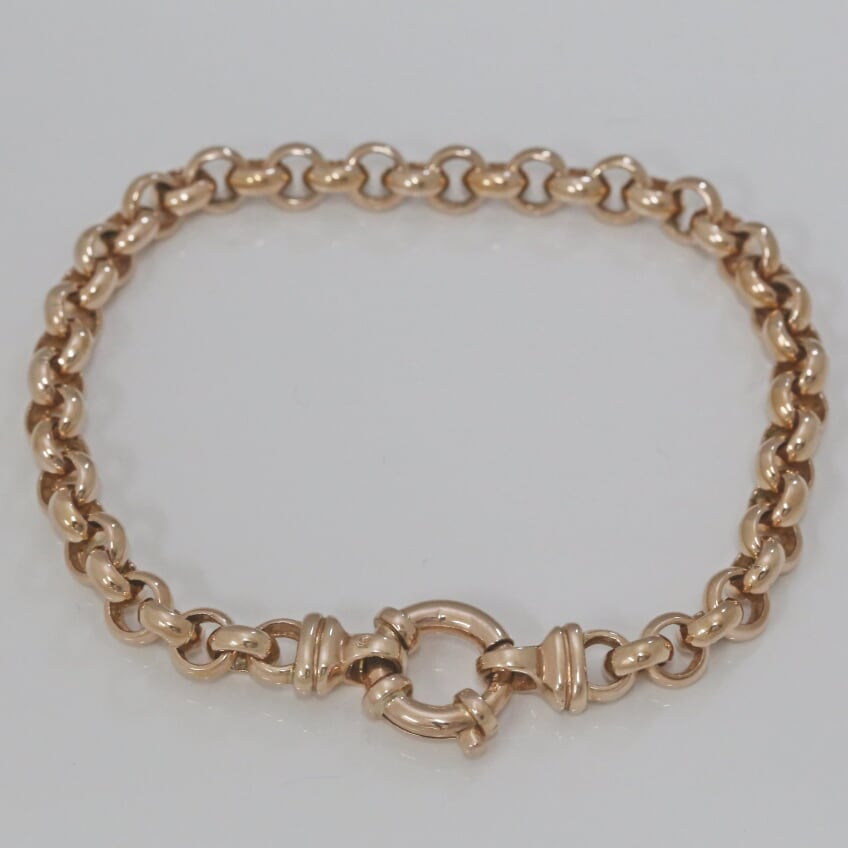 9ct Rose Gold Belcher Link Bracelet