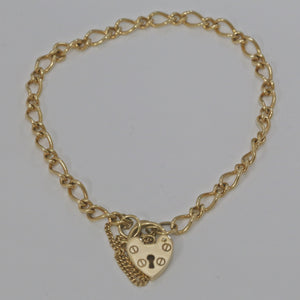 9ct Yellow Gold Figaro Link Padlock Bracelet