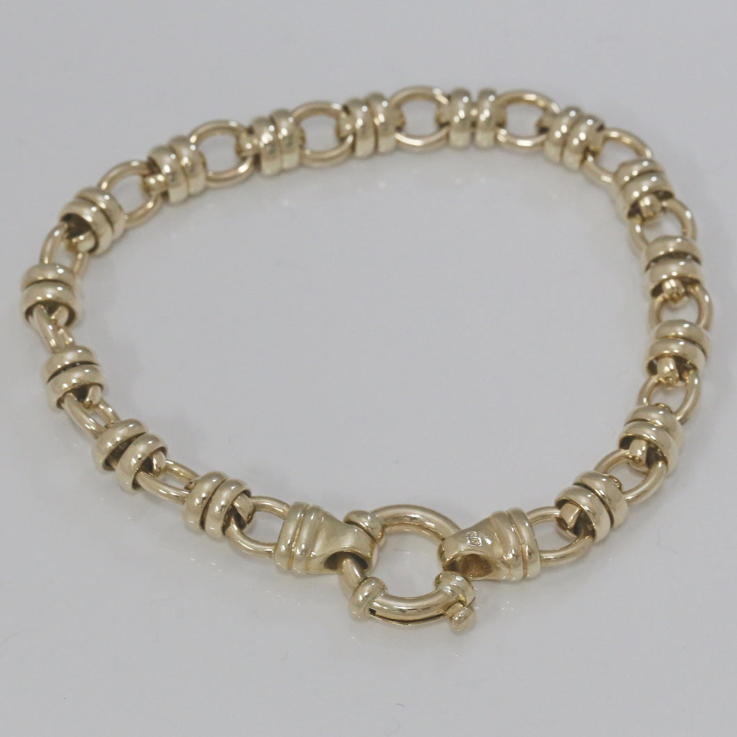 9ct Yellow Gold Roller Style Link Bracelet