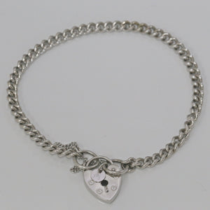 9ct White Gold Curb Link Padlock Bracelet