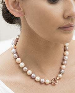 Strand of Multi-coloured Edison Pearls with Rose Gold Clasp