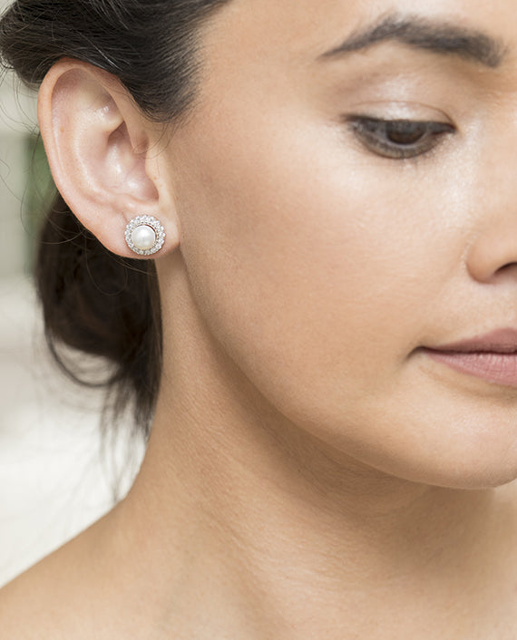 Sterling Silver Freshwater Pearl Studs with removable halo