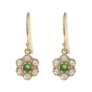 Yellow Gold, Emerald and Seed Pearl Earrings