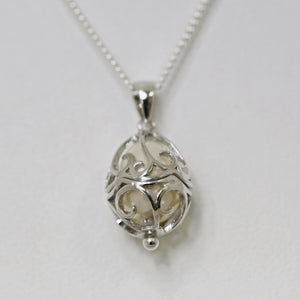 Sterling Silver Teardrop Caged Pearl Pendant
