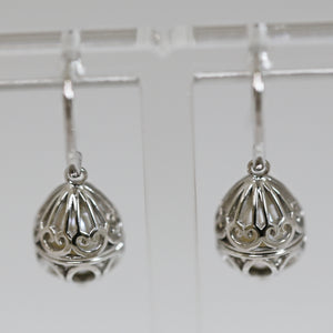 Sterling Silver Teardrop Caged Pearl Earrings