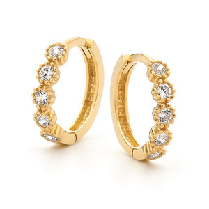 9ct Yellow Gold Mini 'Posie' Hoops