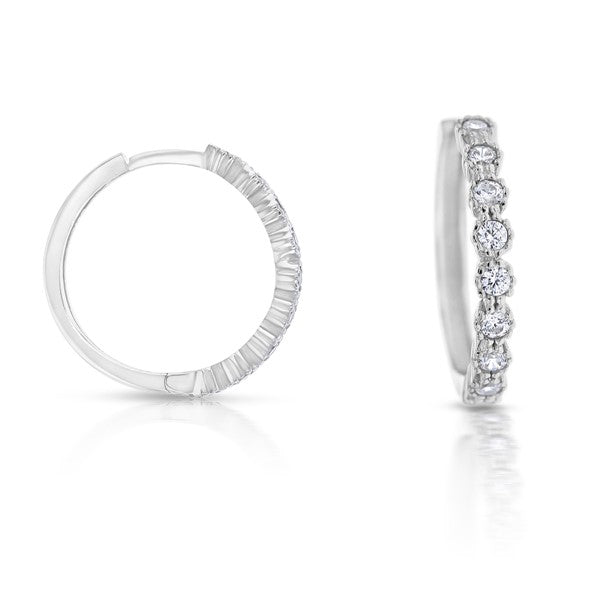 9ct White Gold 'Posie' Hoops