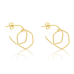 Yellow Gold Double Hexagon Earrings