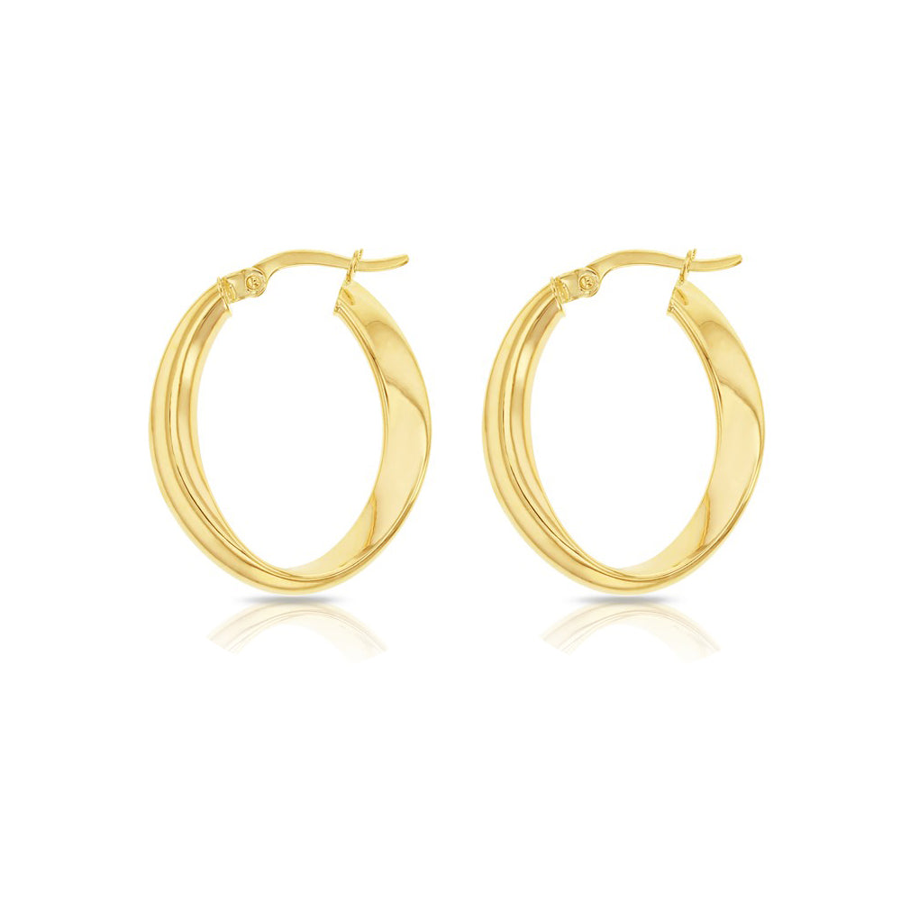 Large Yellow Gold Wave Hoops