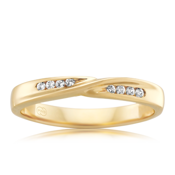 Yellow Gold Crossover Diamond Band