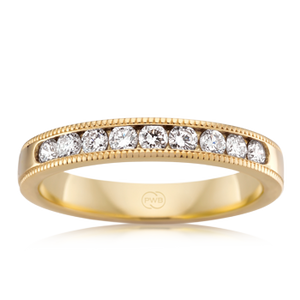 Yellow Gold Milgrain Edge Diamond Band