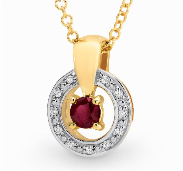 Yellow Gold and Ruby Pendant