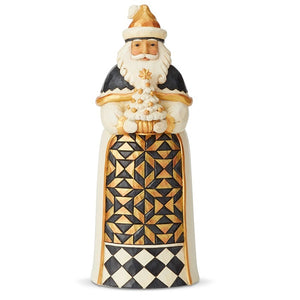 Black and Gold Santa with Tree Figurine