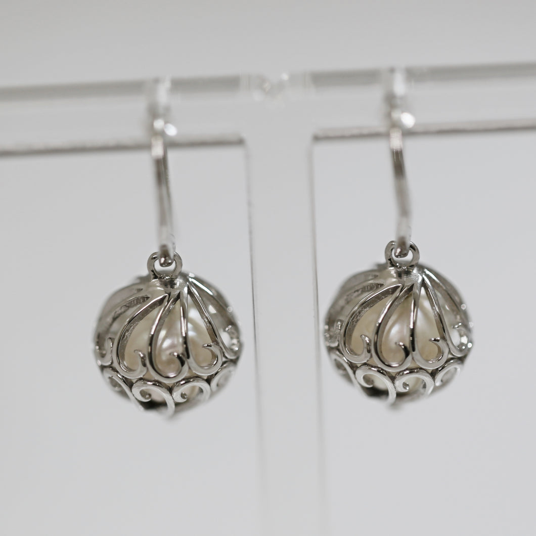 Sterling Silver Round Caged Pearl Earrings