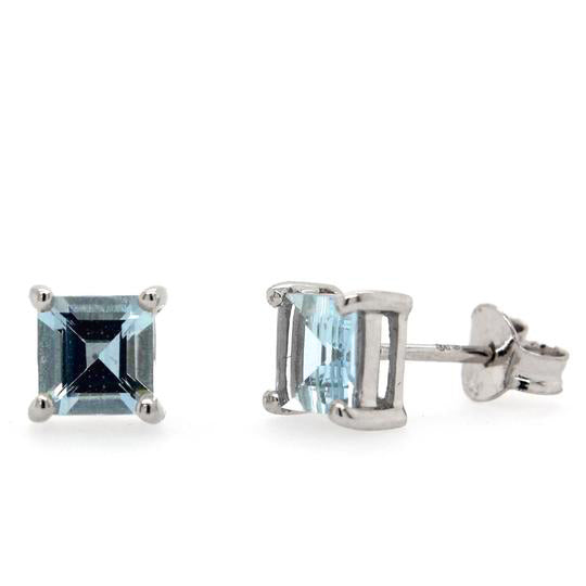 White Gold and Blue Topaz Studs