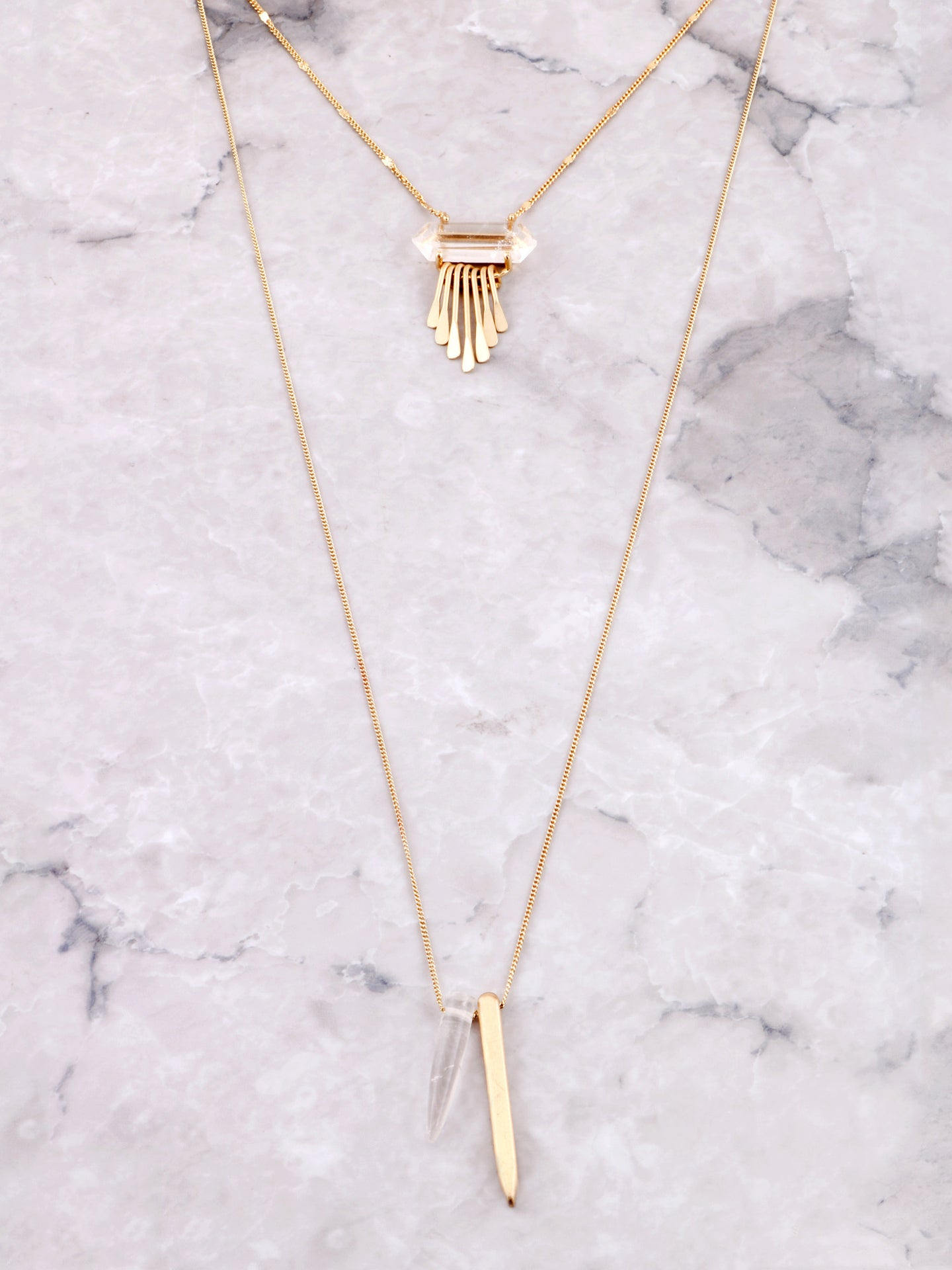 Quartz Point Layered Necklace Anarchy Street Gold