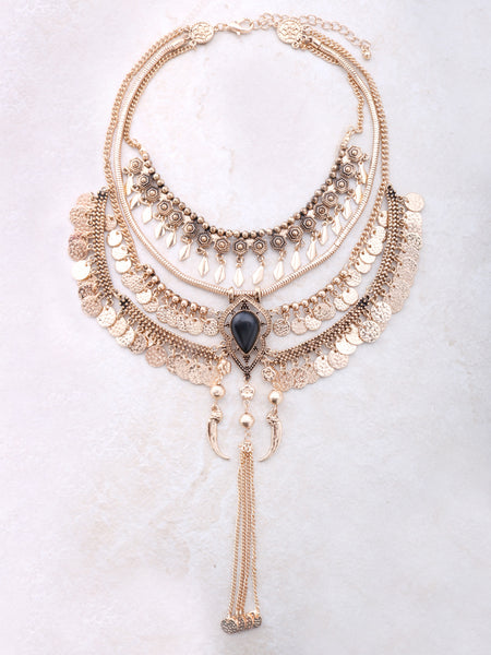 Boho Coin Statement Necklace Anarchy Street Gold