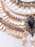 Boho Coin Statement Necklace Anarchy Street Gold - Details