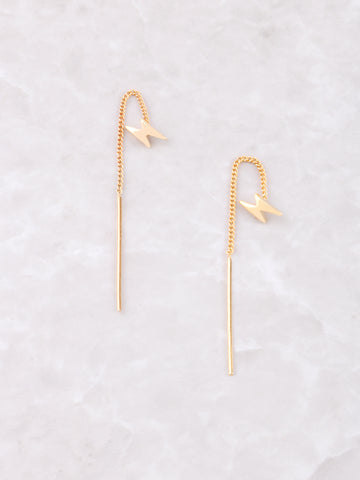 Lightning Bolt Threader Earrings Anarchy Street Gold