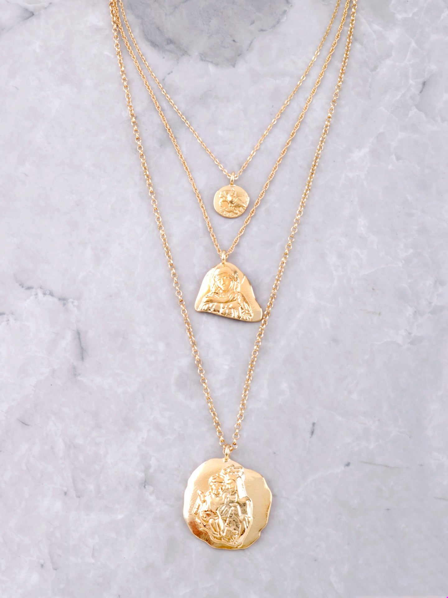 Mother Mary Necklace Set Anarchy Street Gold
